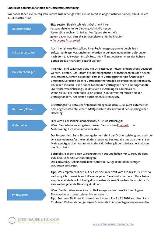 Checkliste Mehrwertsteuersenkung